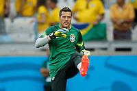Brazil goalkeeper Julio Cesar warming up