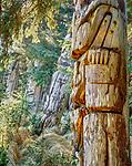 Haida memorial poles, Nan Sdins, Sgang Gwaay, Haida Gwaii (formerly Queen Charlotte Islands), British Columbia, Canada