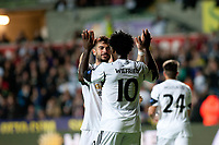 Thursday  03 October  2013  Pictured: ( L-R )  Jordi Amat and Wilfried Bony of Swansea celebrate after Swansea go one nil up<br /> Re:UEFA Europa League, Swansea City FC vs FC St.Gallen,  at the Liberty Staduim Swansea