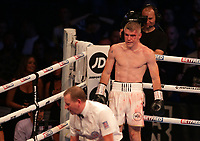 9th October 2021; M&S Bank Arena, Liverpool, England; Matchroom Boxing, Liam Smith versus Anthony Fowler; LIAM SMITH (Liverpool, England) looks on after knocking down ANTHONY FOWLER (Liverpool, England) during their WBA International Super-Welterweight Title contest