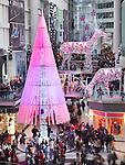 Toronto Eaton Centre shopping mall winter holiday season Christmas tree decoration in 2012. Toronto, Ontario, Canada.