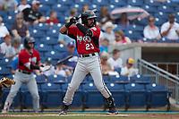 Freddy Zamora (23) of the Carolina Mudcats at bat against the Kannapolis Cannon Ballers at Atrium Health Ballpark on July 18, 2021 in Kannapolis, North Carolina. (Brian Westerholt/Four Seam Images)