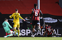13th March 2021; Vitality Stadium, Bournemouth, Dorset, England; English Football League Championship Football, Bournemouth Athletic versus Barnsley; Dominic Solanke of Bournemouth shoots and scores in the 45th minute for 2-1