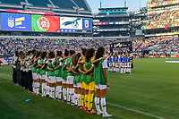PHILADELPHIA, PA - AUGUST 29: Portugal national anthem prior to a game between Portugal and USWNT at Lincoln Financial Field on August 29, 2019 in Philadelphia, PA.