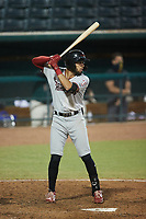 Jonathan Ornelas (3) of the Hickory Crawdads at bat against the Greensboro Grasshoppers at First National Bank Field on May 6, 2021 in Greensboro, North Carolina. (Brian Westerholt/Four Seam Images)
