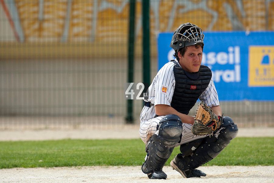 21 May 2009: Boris Marche of Rouen is seen catching during the 2009 challenge de France, a tournament with the best French baseball teams - all eight elite league clubs - to determine a spot in the European Cup next year, at Montpellier, France.