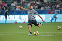 CARSON, CA - SEPTEMBER 15: Roger Espinoza #17 of Sporting Kansas City warming up during a game between Sporting Kansas City and Los Angeles Galaxy at Dignity Health Sports Complex on September 15, 2019 in Carson, California.