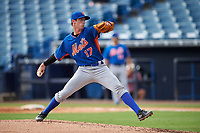 Pitcher Greer Holston (17) of St. Stanislaus College Preparatory School in Long Beach, Mississippi playing for the New York Mets scout team during the East Coast Pro Showcase on July 29, 2015 at George M. Steinbrenner Field in Tampa, Florida.  (Mike Janes/Four Seam Images)