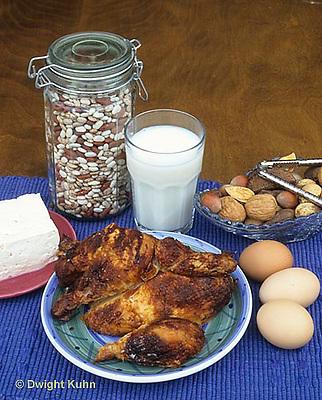 JA05-018x  Food - high in protein - eggs, meat, milk, tofu, beans. nuts