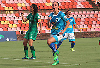 VILLAVICENCIO -COLOMBIA,29-10-2020:Lina Jaime de Llaneros celebra su gol contra Equidad. Llaneros y Equidad por la fecha 4 de LA LIGA FEMENINA BETPLAY DIMAYOR I 2020 jugado en el estadio Bello Horizonte de la ciudad de Villavicencio. / Lina Jaime of llaneros celebrates after scoring a goal against Equidad. Llaneros  and Equidad for the date 4 <br /> the wome´s league  BETPLAY DIMAYOR I 2020 played at Bello Horizonte stadium in Villavicencio city. Photo: VizzorImage/ Felipe Caicedo / Staff