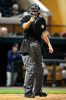 Umpire Ryan Additon makes a call during a game between the Lakeland Flying Tigers and Brevard County Manatees on April 10, 2013 at Joker Marchant Stadium in Lakeland, Florida.  Brevard County defeated Lakeland 7-6.  (Mike Janes/Four Seam Images)