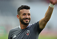 WASHINGTON, DC - JULY 7: Felipe Martins #18 of D.C. United warming up during a game between Liga Deportiva Alajuense  and D.C. United at Audi Field on July 7, 2021 in Washington, DC.