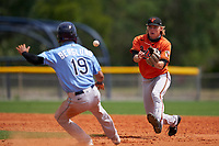 Baltimore Orioles shortstop Gunnar Henderson (93) waits for a throw as Michael Berglund (19) is in a run down during a Minor League Spring Training game against the Tampa Bay Rays on April 23, 2021 at Charlotte Sports Park in Port Charlotte, Florida.  (Mike Janes/Four Seam Images)