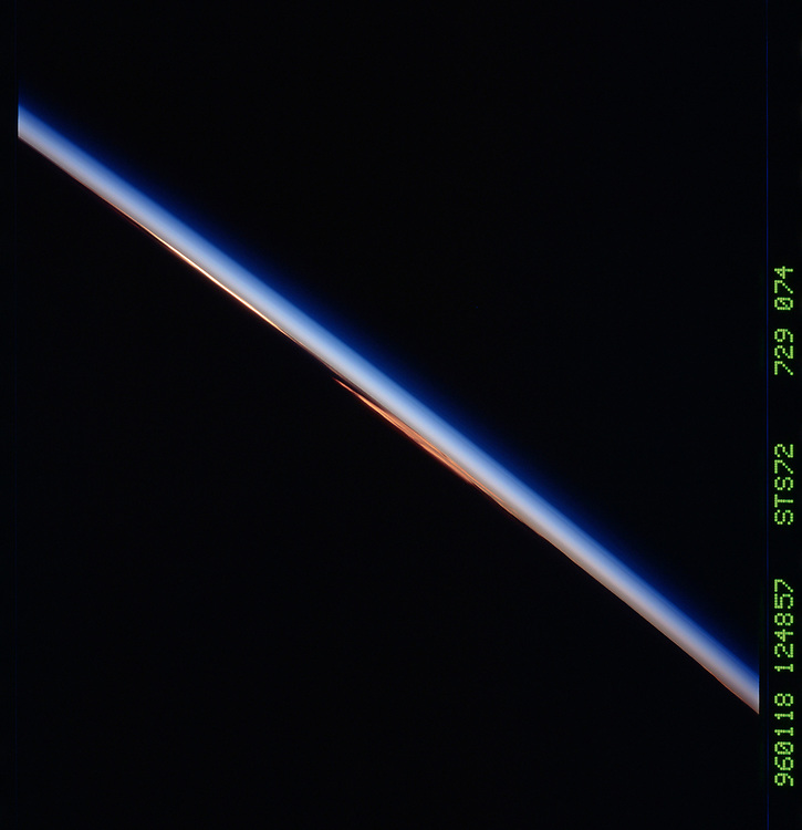 John Angerson. STS-72 Book.<br /> Public Domain Image.<br /> NASA images Courtesy National Archives - Record Group number: 255-STS-STS072<br /> Description: Earth observations taken from shuttle orbiter Endeavour during STS-72 mission.<br /> <br /> Subject Terms: STS-72, ENDEAVOUR (ORBITER), EARTH OBSERVATIONS (FROM SPACE), EARTH LIMB, SUNSET<br /> <br /> Date Taken: 1/18/1996<br /> <br /> Categories: Earth Observations<br /> <br /> Interior_Exterior: Exterior<br /> <br /> Ground_Orbit: On-orbit<br /> <br /> Original: Film - 70MM CT<br /> <br /> Preservation File Format: TIFF<br /> <br /> geon: CLOUDS<br /> <br /> feat: PAN-CLOUDS, REFLECTIONS<br /> <br /> tilt: High Oblique<br /> <br /> cldp: 100<br /> <br /> nlat: -1.3<br /> <br /> nlon: 90.3<br /> <br /> azi: 249<br /> <br /> alt: 162<br /> <br /> elev: -8