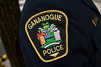 Gananoque Police badge is seen during a police memorial parade in Ottawa Sunday September 26, 2010.