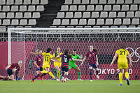KASHIMA, JAPAN - AUGUST 5: Mary Fowler #11 of Australia during a game between Australia and USWNT at Kashima Soccer Stadium on August 5, 2021 in Kashima, Japan.