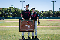STANFORD, CA - MAY 29: Senior Jacob Palisch, David Esquer before a game between Oregon State University and Stanford Baseball at Sunken Diamond on May 29, 2021 in Stanford, California.