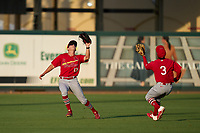 Palm Beach Cardinals outfielder Patrick Romeri (13) catches a fly ball while avoiding a collision with shortstop Masyn Winn (3) during a game against the Jupiter Hammerheads on May 11, 2021 at Roger Dean Chevrolet Stadium in Jupiter, Florida.  (Mike Janes/Four Seam Images)