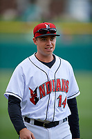 Indianapolis Indians third baseman Eric Wood (14) before a game against the Toledo Mud Hens on May 2, 2017 at Victory Field in Indianapolis, Indiana.  Indianapolis defeated Toledo 9-2.  (Mike Janes/Four Seam Images)