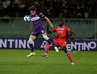 3rd October 2021; Franchi Stadium, Florence, Italy; Serie A football, Fiorentina versus Napoli : Dusan Vlahovic of Fiorentina challenges Kalidou Koulibaly of Napoli
