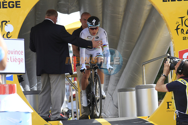 World Time Trial Champion Tony Martin (GER) Omega Pharma-Quick Step on the start ramp of the Prologue of the 99th edition of the Tour de France 2012, a 6.4km individual time trial starting in Parc d'Avroy, Liege, Belgium. 30th June 2012.<br /> (Photo by Eoin Clarke/NEWSFILE)