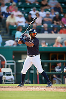 Detroit Tigers shortstop Willi Castro (49) at bat during a Grapefruit League Spring Training game against the Atlanta Braves on March 2, 2019 at Publix Field at Joker Marchant Stadium in Lakeland, Florida.  Tigers defeated the Braves 7-4.  (Mike Janes/Four Seam Images)