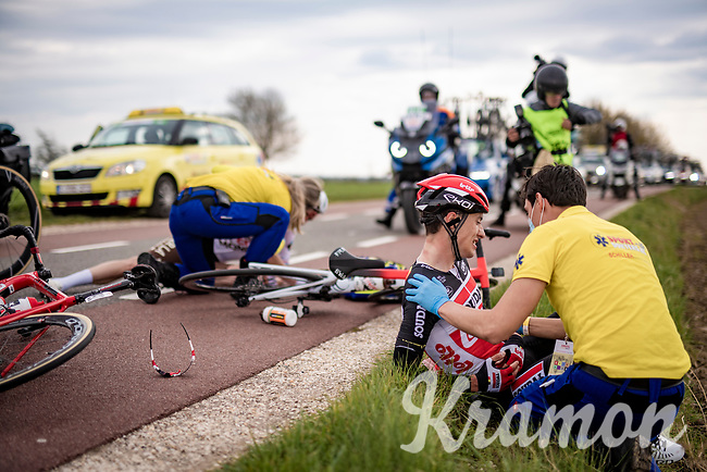 Sylvain Moniquet (BEL/Lotto Soudal) was involved in a crash at the back of the peloton<br /> <br /> 55th Amstel Gold Race 2021 (1.UWT)<br /> 1 day race from Valkenburg to Berg en Terblijt; raced on closed circuit (NED/217km)<br /> <br /> ©kramon