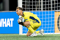 FOXBOROUGH, MA - AUGUST 26: Joe Rice #51 of New England Revolution II makes a save during a game between Greenville Triumph SC and New England Revolution II at Gillette Stadium on August 26, 2020 in Foxborough, Massachusetts.