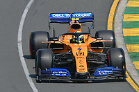 March 16, 2019: Lando Norris (GBR) #4 from the McLaren F1 team rounds turn 2 during practice session three at the 2019 Australian Formula One Grand Prix at Albert Park, Melbourne, Australia. Photo Sydney Low