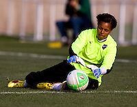 Karina LeBlanc of the Philadelphia Independence makes a save during their preseason game at the Maryland SoccerPlex in Germantown, Maryland.