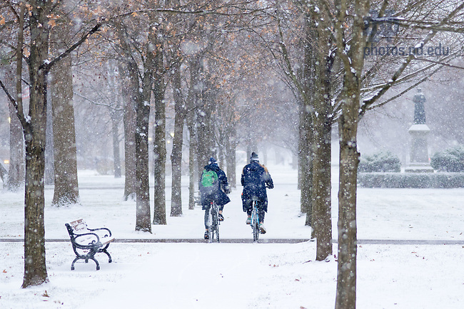 December 7, 2017; Students ride bikes in the snow on main quad (Photo by Matt Cashore/University of Notre Dame)