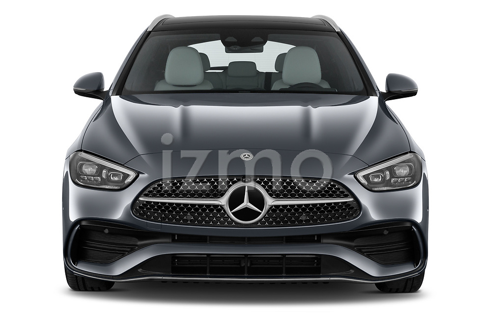 Car photography straight front view of a 2022 Mercedes Benz C-Class AMG-Line 5 Door Wagon Front View