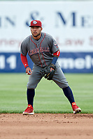 Lehigh Valley IronPigs second baseman Alexi Amarista (2) during a game against the Syracuse Chiefs on May 20, 2018 at NBT Bank Stadium in Syracuse, New York.  Lehigh Valley defeated Syracuse 5-2.  (Mike Janes/Four Seam Images)