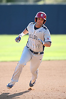 Scott Silva (6) of the Fresno State Bulldogs runs the bases during a game against the Pepperdine Waves at Eddy D. Field Stadium on March 7, 2017 in Los Angeles, California. Pepperdine defeated Fresno State, 8-7. (Larry Goren/Four Seam Images)