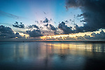 The setting sun on the lagoon in Tuvalu