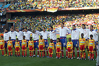 Serbia team line up before the game against Ghana for the national anthems..
