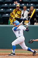 Trent Chatterton #8 of the UCLA Bruins bats against the Washington Huskies at Jackie Robinson Stadium on March 17, 2013 in Los Angeles, California. (Larry Goren/Four Seam Images)