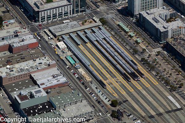 aerial photograph CalTrain station San Francisco, California