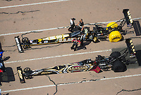 Apr. 28, 2012; Baytown, TX, USA: Aerial view of NHRA top fuel dragster driver Khalid Albalooshi (bottom) and Tony Schumacher during qualifying for the Spring Nationals at Royal Purple Raceway. Mandatory Credit: Mark J. Rebilas-