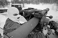 - NATO exercises AMF (Allied Mobil Force) in Norway, february 1986; soldier of the Royal Norwegian Army with antitank Tow missile launcher<br /> <br /> - Esercitazioni NATO AMF (Allied Mobil Force) in Norvegia, febbraio 1986; militare del Reale Esercito Norvegese con lanciamissili anticarro Tow