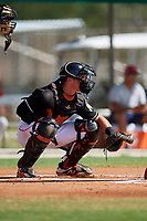 GCL Marlins catcher Keegan Fish (6) awaits a pitch during a game against the GCL Cardinals on August 4, 2018 at Roger Dean Chevrolet Stadium in Jupiter, Florida.  GCL Marlins defeated GCL Cardinals 6-3.  (Mike Janes/Four Seam Images)