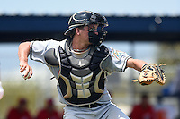 GCL Marlins catcher Blake Anderson (26) throws down to second during a game against the GCL Nationals on June 28, 2014 at the Carl Barger Training Complex in Viera, Florida.  GCL Nationals defeated the GCL Marlins 5-0.  (Mike Janes/Four Seam Images)