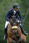 Spain's jockey Ismael Garcia Roque with the horse Calvin during 102 International Show Jumping Horse Riding, Gran Prix of Madrid-Volvo Throphy.May, 19, 2012. (ALTERPHOTOS/Acero)