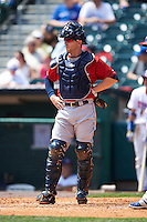Columbus Clippers catcher Brett Hayes (11) during a game against the Buffalo Bisons on July 19, 2015 at Coca-Cola Field in Buffalo, New York.  Buffalo defeated Columbus 4-3 in twelve innings.  (Mike Janes/Four Seam Images)