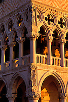 Italy, Venice. The Doge's Palace (Palazzo Ducale) exterior facade of corner with statue of Adam and Eve