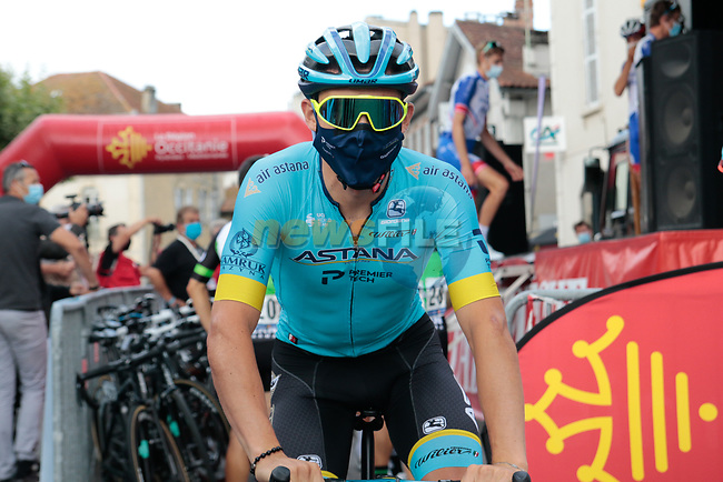 Miguel Angel Lopez Moreno (COL) Astana Pro Team arrives at sign on before Stage 3 of the Route d'Occitanie 2020, running 163.5km from Saint-Gaudens to Col de Beyrède, France. 3rd August 2020. <br /> Picture: Colin Flockton | Cyclefile<br /> <br /> All photos usage must carry mandatory copyright credit (© Cyclefile | Colin Flockton)