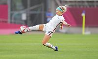 KASHIMA, JAPAN - JULY 27: Julie Ertz #8 of the United States traps the ball before a game between Australia and USWNT at Ibaraki Kashima Stadium on July 27, 2021 in Kashima, Japan.