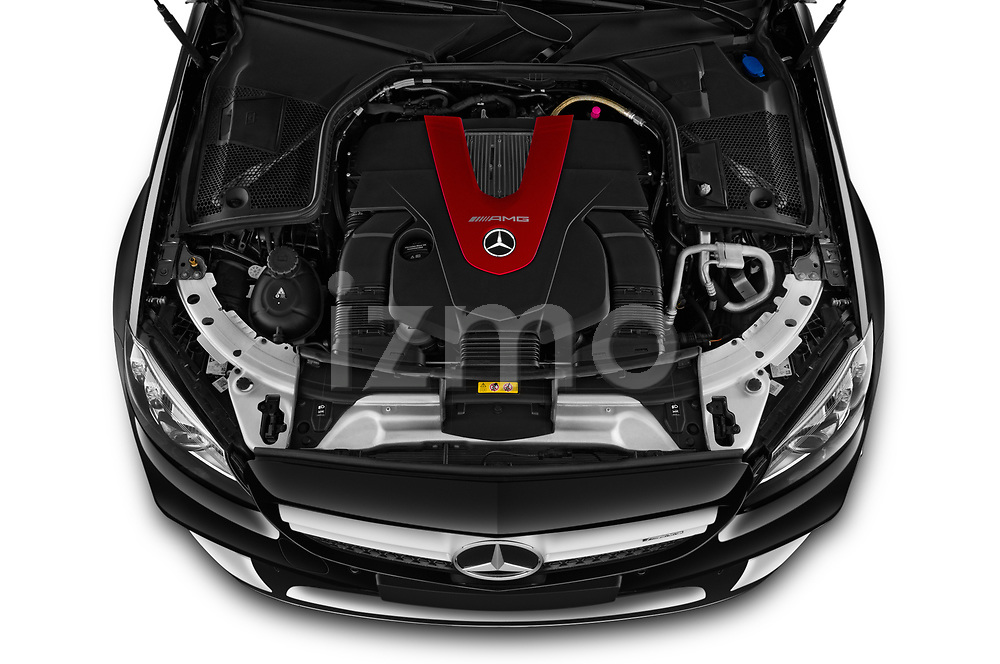 Car stock 2020 Mercedes Benz C class 43-AMG 2 Door Coupe engine high angle detail view