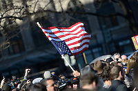 January 30, 2012  (Washington, DC)  OccupyDC protestors gathered at McPherson Square, with extra supporters, anticipating a police raid and eviction that did not come by the noon deadline imposed by the National Park Service.  (Photo by Don Baxter/Media Images International)