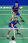 Ong Yew Sin and Teo Ee Yi of Malaysia compete against Mathias Boe and Carsten Mogensen of Denmark during the Men's Doubles' Quarter-final match of the YONEX-SUNRISE Hong Kong Open Badminton Championships 2016 at the Hong Kong Coliseum on 25 November 2016 in Hong Kong, China. Photo by Marcio Rodrigo Machado / Power Sport Images